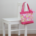 Mini Tote Bag for Little Girls - Pink Floral / Hot Pink Spot