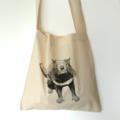 Screen printed Tasmanian devil calico shoulder bag
