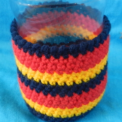 Bottle Cosy - Red, Gold and Navy Blue