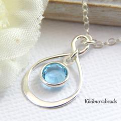 Infinity Necklace Sterling Silver Swarovski Birhstone Of  Your Choice
