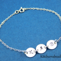 Hand Stamped Disc Bracelet Initial Disc Bracelet Sterling Silver