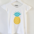 Yellow Polka Dot Pineapple with Chevron Leaves on a Cotton Onesie/Blouse/Singlet