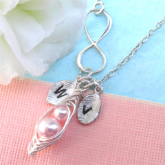 Personalized Silver Infinity peas in pod Necklace Sterling Silver