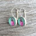 Glass dome hoop earrings - Pink pineapple