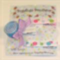 Set of 3 lollipop hair clips including ribbon sculpture lollipop (mauve/blue)