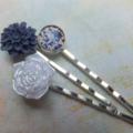 Navy & Pearl Hair Clips-3 hair clips