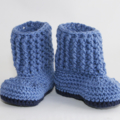 Crocheted Baby Snuggly Snuggs Booties. Size 6-12 months