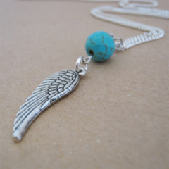 Turquoise & Feathered Wing Charm Necklace