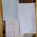 Muslin wrap / swaddle / receiving blanket, pack of three. Baby girl.