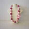 Chunky Bead Pink & White Necklace - Girl, Toddler