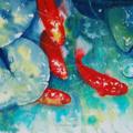 "Koi Fish, PRINT, Watercolour Painting -  10""x8""  Fish Pond Koi 2"