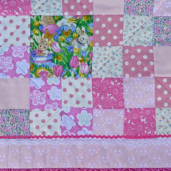 "Pink ""rabbit"" cot quilt or floor rug"