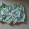 Mint White and Gold Chevron Shorties Nappy Cover NB Size