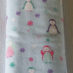 Cosy Flannelette Baby Blanket / Cot Cover / Pram Cover / Play Mat - Penguins!