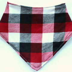 Red & Black Buffalo plaid bandana bib