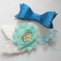 Blue clip set - glitter bow and flower clips
