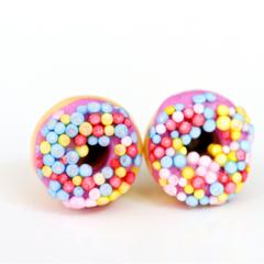Donut studs - Purple donut stud earrings - with sprinkles  - donut earrings