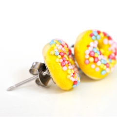 Donut studs - Yellow iced donut stud earrings - sprinkles