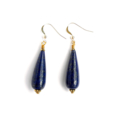 Teardrop Lapis Lazuli and Gold Earrings