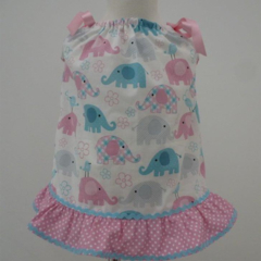"Size 6 Months ""Cute Elephants"" Dress and Frilled Pants"