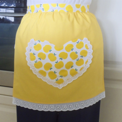 Half Apron Apples yellow - lined apron with apple heart pocket