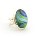 Blue Green Swirl Large Adjustable Ring
