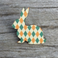 Wooden Brooch - Bunny rabbit. Green and yellow.