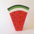 Medium handmade RED wooden watermelon stacker. (7 Piece)
