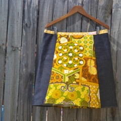 Vintage 1970's green & yellow with denim