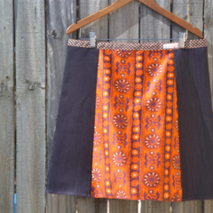 Vintage psychedelic 1960's orange and purple with denim