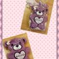 CUSTOM ORDER FOR JOY - Purple with Daisy detail Personalised Furry Teddy Bear