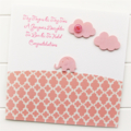 Baby Girl card pink elephant paper clouds and button newborn