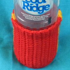 Bottle Cosy - Red and Yellow