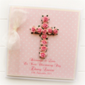 Cross Personalised card custom baby girl pink Christening Baptism Communion