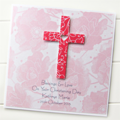 Cross Personalised card red Christening Baptism Holy Communion Confirmation