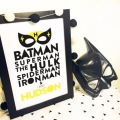 superhero superman hulk spiderman ironman batman Personalised Wallart Print