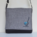 Large messenger bag with grey flap and blue wren feature