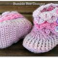 Crochet Crocodile Stitch Baby Booties size 6-12 months pink, lavender, grey
