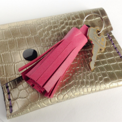 Pink leather Tassel Keyring