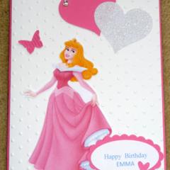 Personalised Birthday Princess Aurora / Sleeping Beauty Handmade Card