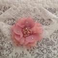 Dusty Pink Chiffon and Lace Flower Headband. Made to size