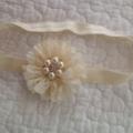 Ivory Flower Headband. Made to size