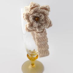 baby girl crochet headband | tan with tan flower | gift | 3 - 9 months
