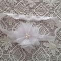White  Chiffon and Lace Flower Headband. Made to size