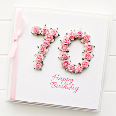 Any Age Personalised card birthday gift boxed pink 18 21 30 40 50 60 70 80 90