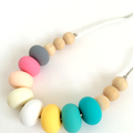 Washable Silicone Donut Bead & Natural Wood Necklace LAST ONE!