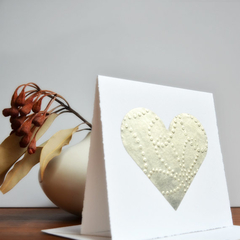 Embossed Silver Leaf Love Heart Card | Wedding | Engagement | Mothers Day