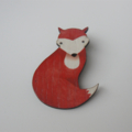 Wooden Fox Brooch, Gentle Fox