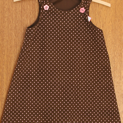 Pink spotted Cord A-Line Dress. Size 1, 2, or 3