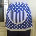 SALE - Half Apron blue & white lined apron - heart pocket